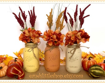 Set of 3 Quart Size Chalk Painted Ball Mason Jars-Wedding Centerpiece Vase-Fall Mason Jar Décor-Rustic Décor-Thanksgiving Décor-Shabby Chic