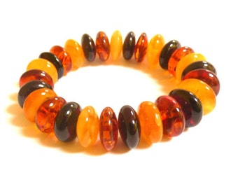 Baltic Amber Jewelry Bracelet Multicolor Rondelle Beads Natural 28.7 gram