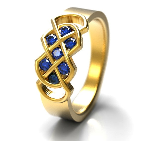 Celtic Blue Sapphire Ring With Infinity Knot Design in 10K 14K 18K Gold, Palladium or Platinum Made in Your Size CR-771