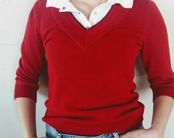 Vintage Ralph Lauren Red Sweater Top Pullover Sweater with Polo Shirt V Neck Athletic Sailing Beach Wear 1990s Size Large