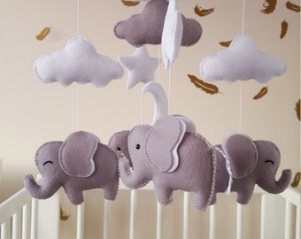 baby mobile, elephant mobile, cot mobile, nursery mobile, baby shower gift, baby gift,