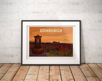 Edinburgh, Scotland, UK - signed travel poster print
