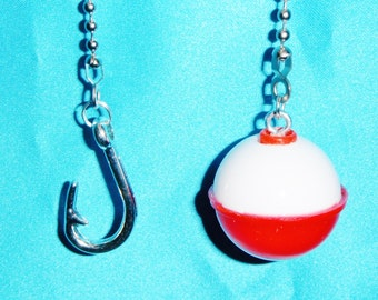Set of Two - Fishing Hook and Bobber - Free Shipping - Ceiling Fan Pull Chains