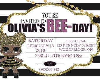 LOL Queen Bee Birthday invitation