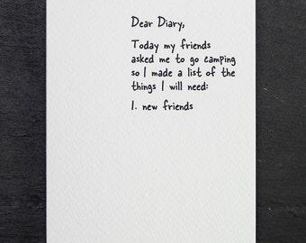 new friends. letterpress card. #859