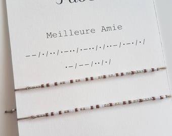 Lot 2 Morse Code best friend Bracelet