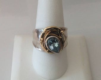 Exquisite Sterling Silver & 14K Gold Blue Topaz Ring...Size 11...STATEMENT PIECE!