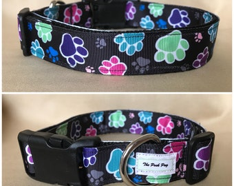 "Handmade Paws 1"" Adjustable Dog Collar - MEDIUM"