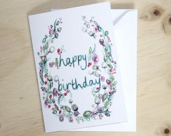 Happy Birthday floral wreath card