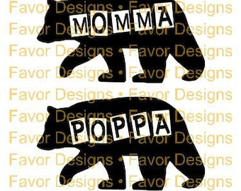 Momma Poppa Bear SVG JPEG Cut File, Digital Download, Circuit Ideas, SVG Cut Files, Circuit File, Silhouette File, Svg, Svgs, Clip Art