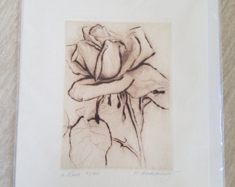 Vintage Rose Sketch/Picture/Art by Ramona Hammerly 1984