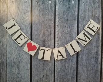 wedding banner, valentines decorations, love banner, wedding banner, je taime banner, je t'aime sign, valentines ideas, wedding decor