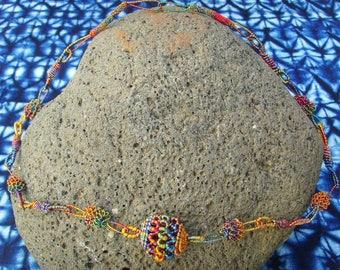 Necklace with multicolored yarn - Senegal - necsene04