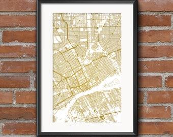 Detroit Map Art Print –Gold // Detroit Poster | Detroit Art | Detroit Print // Free Shipping