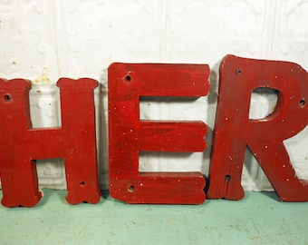 Three Red Rustic Wooden Marquee Letters, HER, Red Wooden Carnival Letters