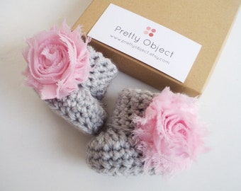 Gray baby girl booties Crochet baby booties Baby shower gift Baby girl shoes Newborn booties Crochet booties Baby shoes New baby gift