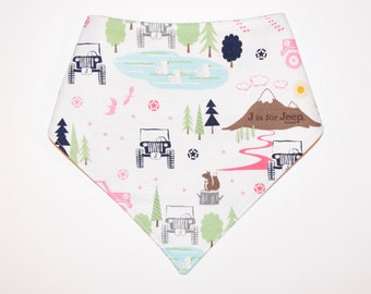 J is for Jeep (Pink), Reversible Dog Bandana, Snap Closure Bandana