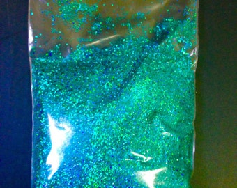 turquoise glitter, holo glitter, 0.4mm glitter, solvent resistant, bulk glitter, loose blue glitter, sparkle craft supply, fine glitter, art