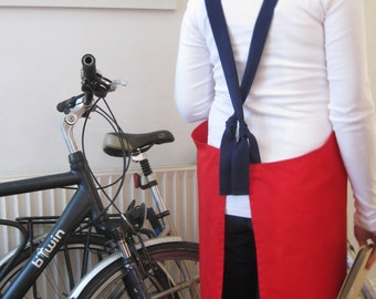 Red Cross Back Cotton Apron with Adjustable ties. For Artists and Makers. Red-Navy. No7
