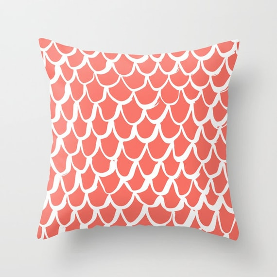 Coral and White Mermaid Throw Pillow . Salmon Pillow . Coral Cushion . Mermaid Pillow . Coral Pillow . Coral Cushion 14 16 18 20 inch