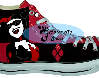Cartoon shoes, custom converse, hand painted shoes, free shipping in the US