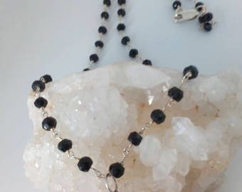 Black Spinel and 925 Sterling Silver Link Necklace with Tear Drop Pendant