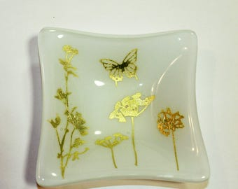 Silver Wildflower Trinket Dish, Condiment Dish, Candy Dish, Fused Glass Dish