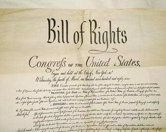 Vintage BILL OF RIGHTS • United States • Large 14 X 17 inches
