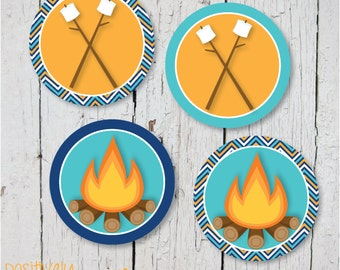 Campfire and Smores Deco Dots - Camping Theme Printable Stickers, Cupcake Toppers or Decorations