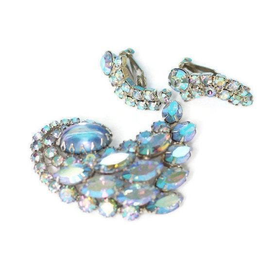 Designer Blue AB Rhinestone Brooch Earrings Set Signed Continental Vintage Wedding Bridal