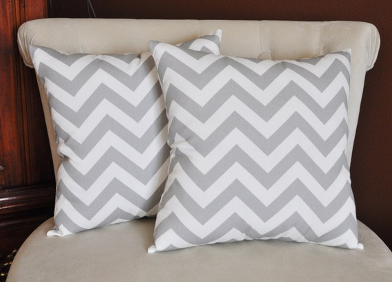 two gray and white zigzag pillows chevron pillows stuffed. Black Bedroom Furniture Sets. Home Design Ideas
