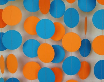 Orange and Blue Paper Garland, Birthday Party Decorations, Boys Birthday Party Decor, Circle Garland, 10 ft. long