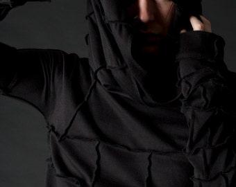 Apocalyptic Shroud Hooded Long Sleeved Mens Shirt
