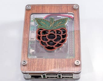Zebra Wood with Wooden Raspberry Inlay CASE WITH FAN~ for Raspberry Pi 3B+ 3, Pi2 by C4Labs