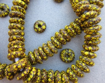 Yellow & Brown Fused Ghana Glass Disk Beads (14x6mm) [68410]