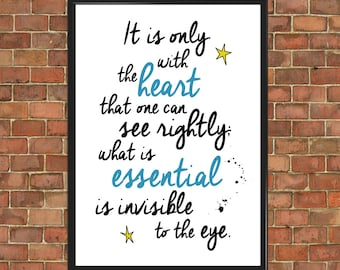 The Little Prince Quote Poster Le Petit Prince Only With Heart Art Print Wall Decor Home Gift Home Decor Inspirational (005)