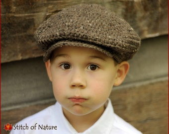 Crochet PATTERN - The Belmont Scally Cap, Newsboy Hat, 1920s Hat Pattern (18in doll, Newborn to Adult sizes - Girls, Boys) - id: 16019