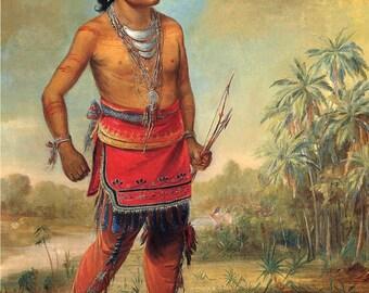 George Catlin: The Indian Gallery, Osceola Nick-A-No-Chee - a Boy, Seminole Tribe, 1840 - Fine Art Print.