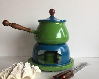 Retro Fondue Pot with Wood Handle and Fondue Forks  l  Vintage Fondue Pot  l  Blue Fondue Pot  l  Green Fondue Pot