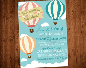 Hot Air Balloon Adventure Baby Shower (Printable) Invitation