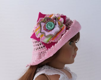 Handmade Crochet Doll Hat  Fits 18 inch Doll Pink Hat with Flower