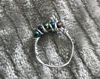 Black Multichrome Wire Wrapped Ring