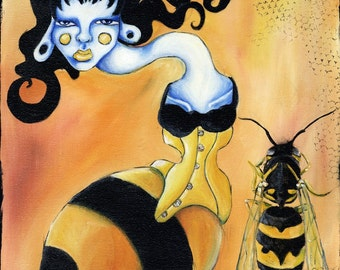 Waist Envy - 8x8 Matted Archival PRINT of an Ela Steel painting bumble bee girl yellow tight laced corset wasp wings on orange lowbrow art