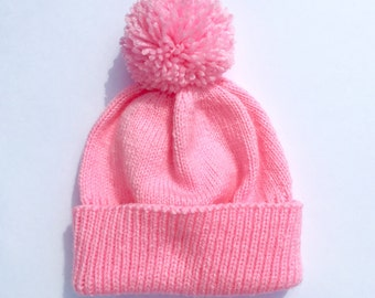 Pink knitted hat - light pink hat - adult knitted hat - custom hat - knitted hat for adult