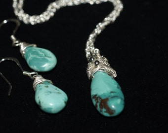 Natural Turquoise Pendant  Sterling Silver Set  Birthstone Jewelry December