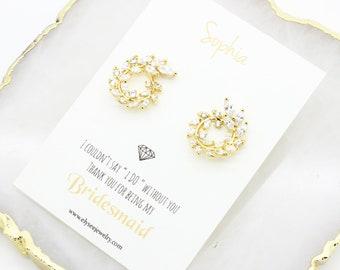 Leaf earrings, bridal stud earrings, bridesmaids earrings, Mother of the bride gift, Unique earrings, Branch earrings, elyseejewelry