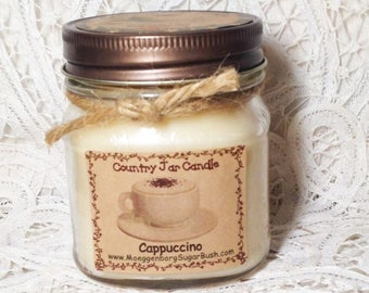 Jar Candle, Cappuccino, Mason Jar, 1/2 pint candles, coffee scented, container candle,  Moeggenborg Sugar Bush