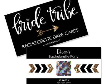 Bride Tribe - Bachelorette Party Game -  Personalized Bride Tribe - Bachelorette Party Scratch Off Dare Cards - Bridal Shower Game - 22 ct.