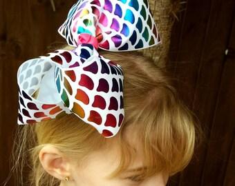 "Mermaid, Large, Extra large, Giant,Big Bow, Hair Bow,7.5"" ,Boutique,Rainbow, Multicoloured, Foil Ribbon,Uk"