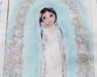 Mutter mit Neugeborenen - große Druck auf Stoff (14,5 x 20 Zoll) von FLOR LARIOS